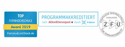 Top Institut FernstudiumCheck, FIBAA akkreditiert, ZFU Logo
